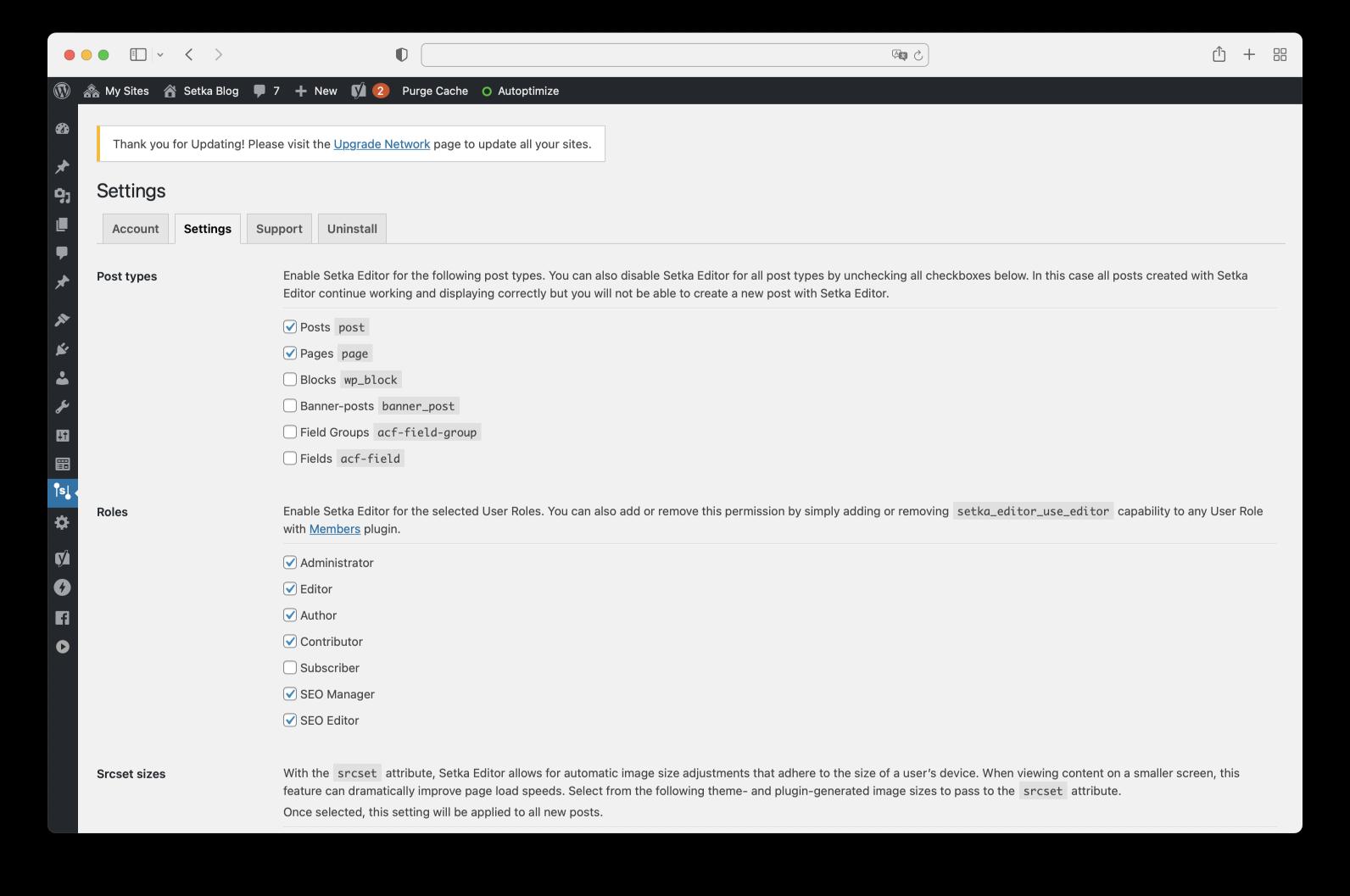Setka Editor settings in WordPress.