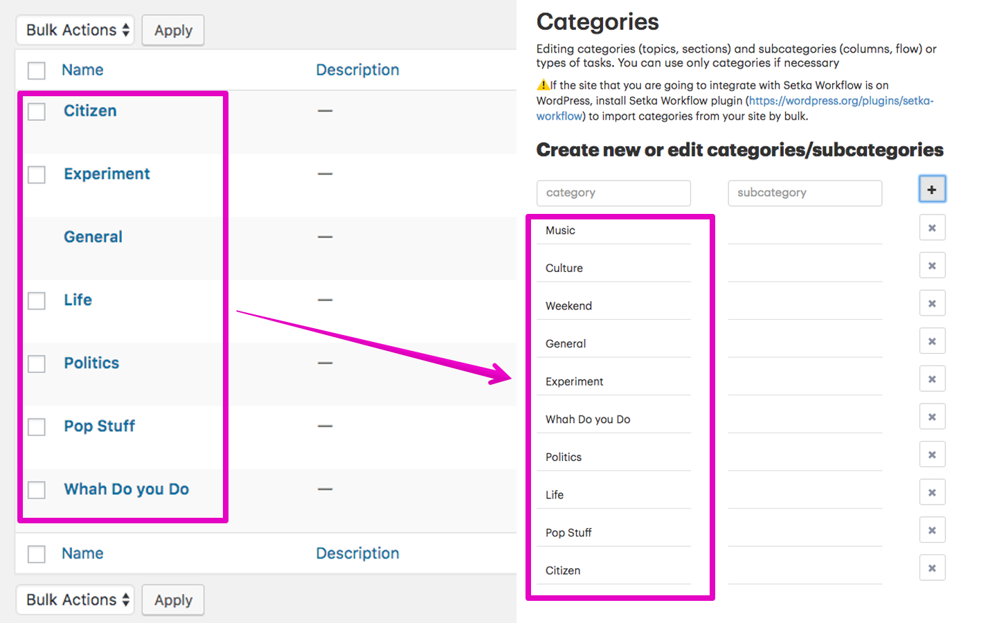 Export WordPress categories to Setka Workflow instantly.