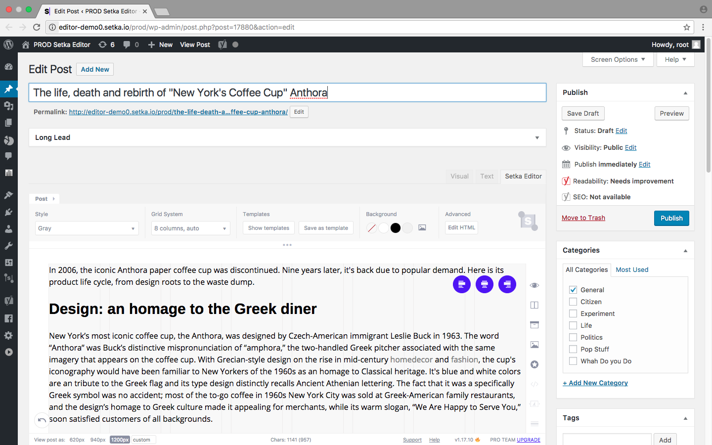 Edit posts from the Setka Workflow tickets directly in WordPress.