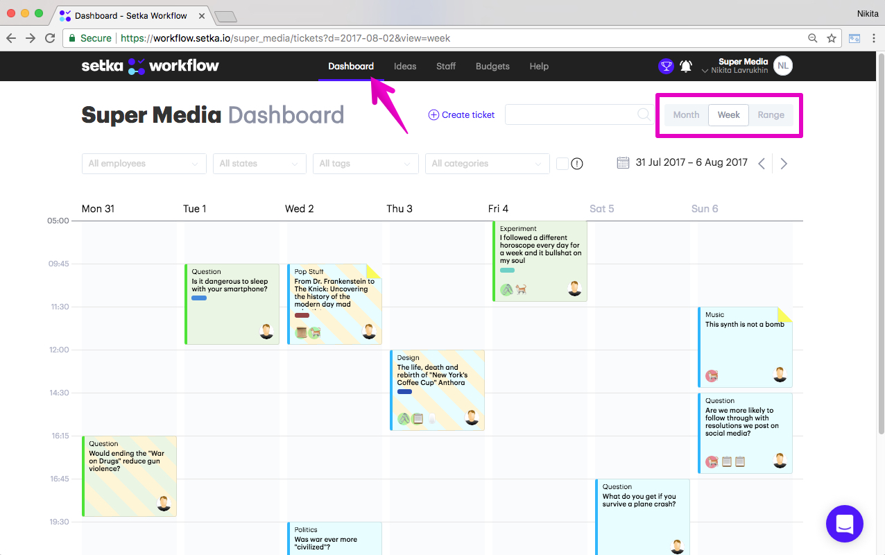 Dashboard is a task a manager with calendar view to manage all editorial tasks.