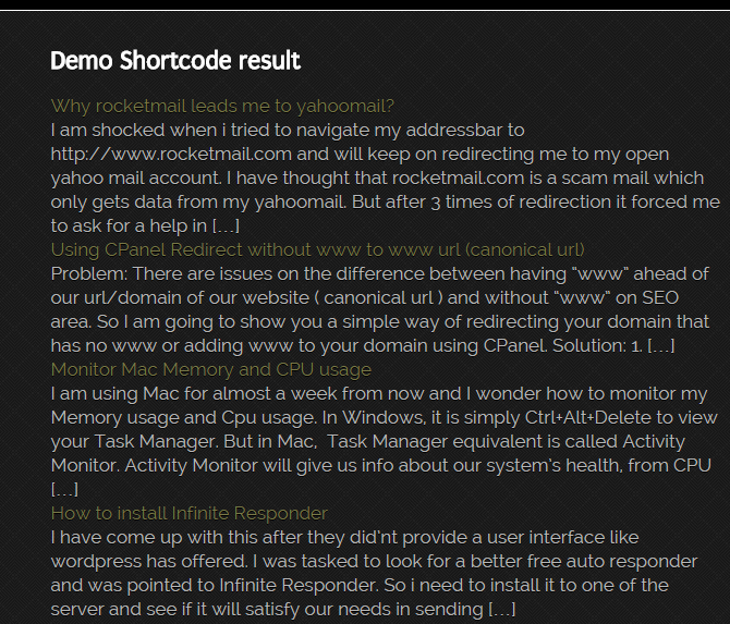 Frontend result of the shortcode.