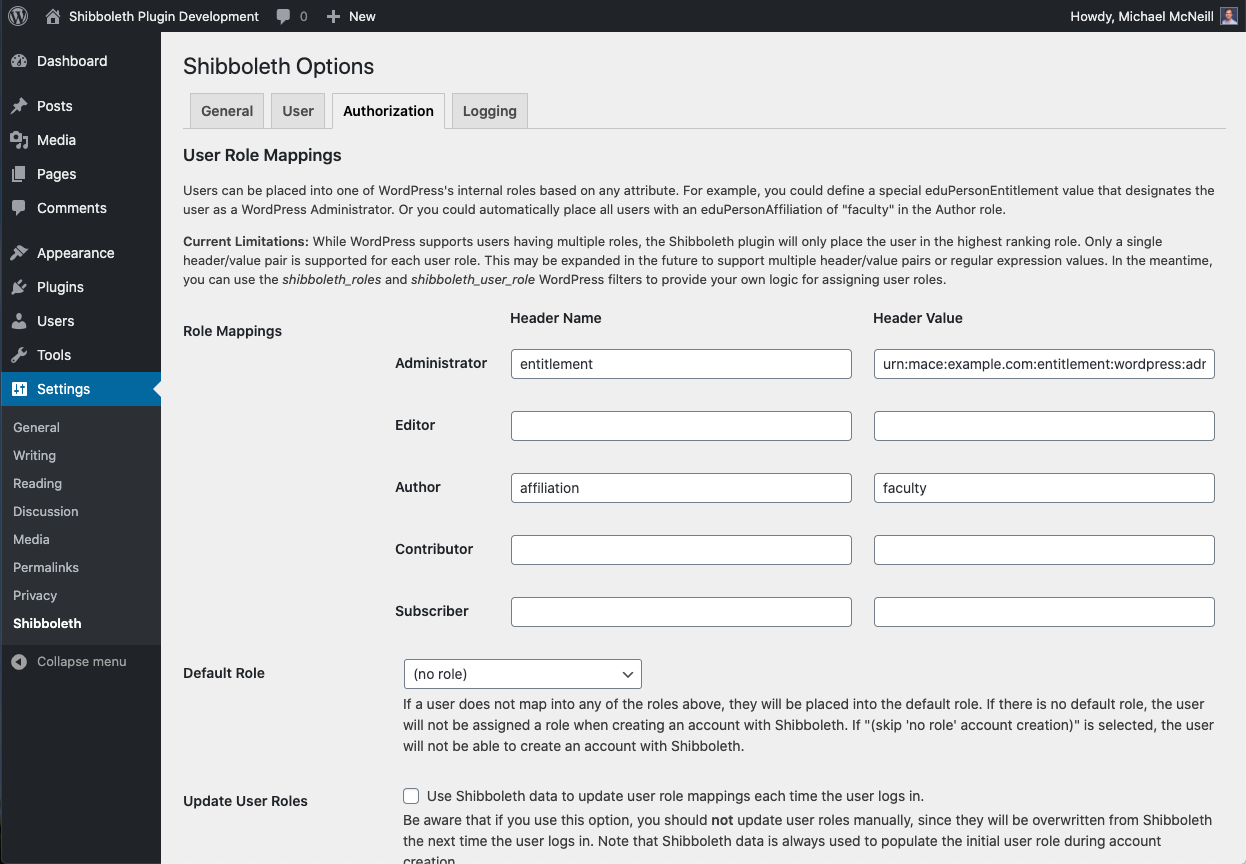 Assign users into WordPress roles based on arbitrary data provided by Shibboleth