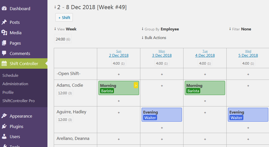 ShiftController Employee Shift Scheduling – WordPress plugin