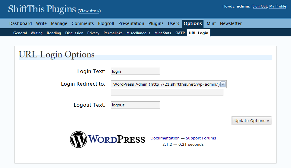 The URL Login Options Page.