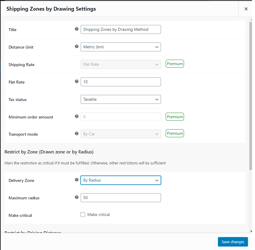 Add your delivery map to a shipping method