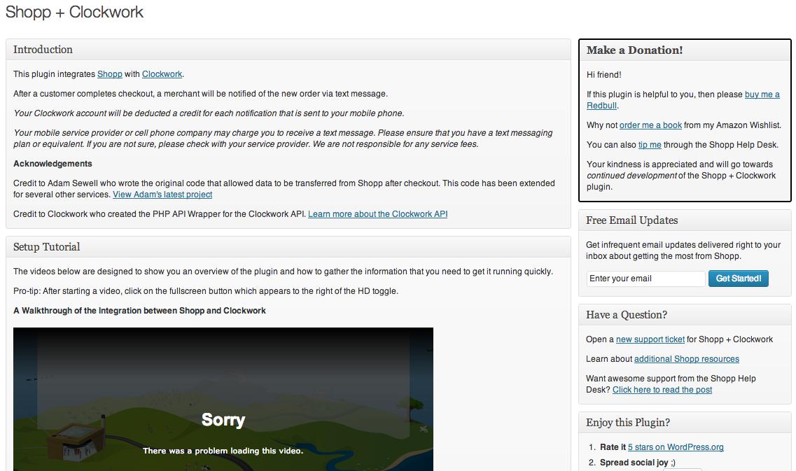 The Shopp + Clockwork WordPress admin page.