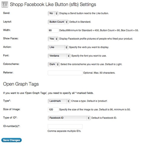 shopp-facebook-like-button-sflb screenshot 1