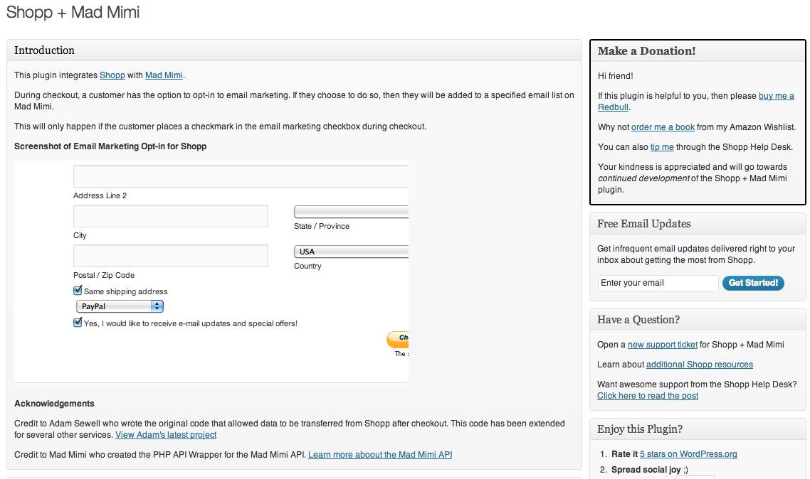 The Shopp + Mad Mimi WordPress admin page.