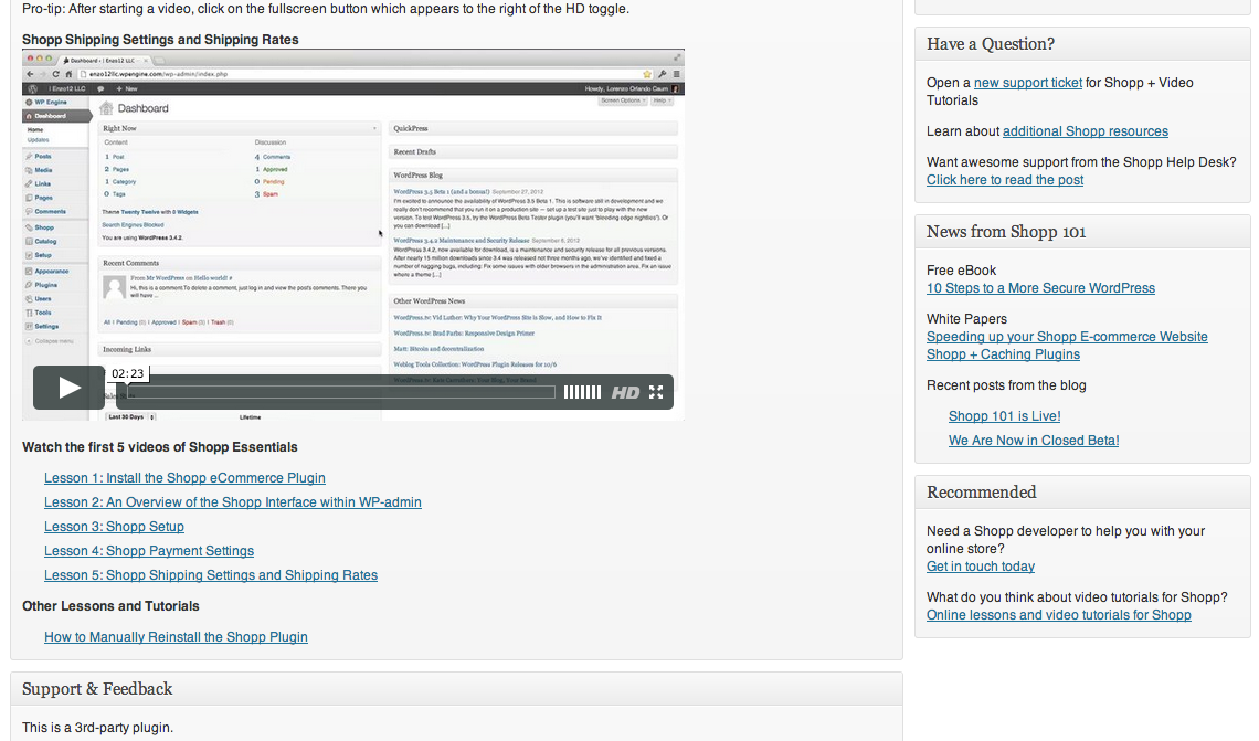 An additional view of the Shopp + Video Tutorials WordPress admin page.