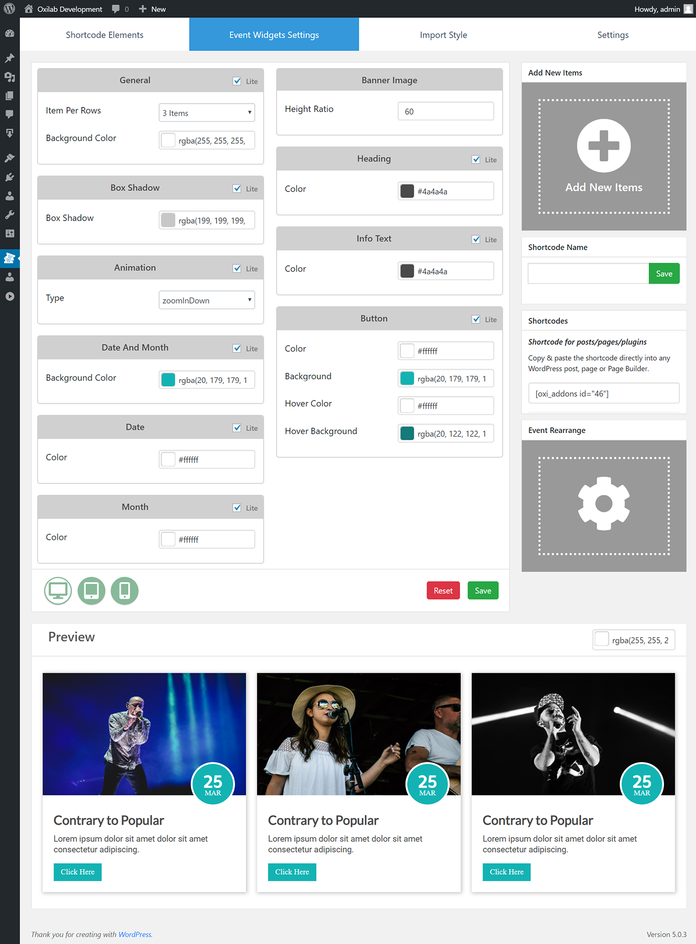 Admin panel With Live Preview.