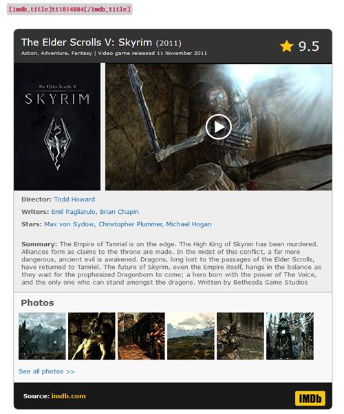 Shortcode IMDB