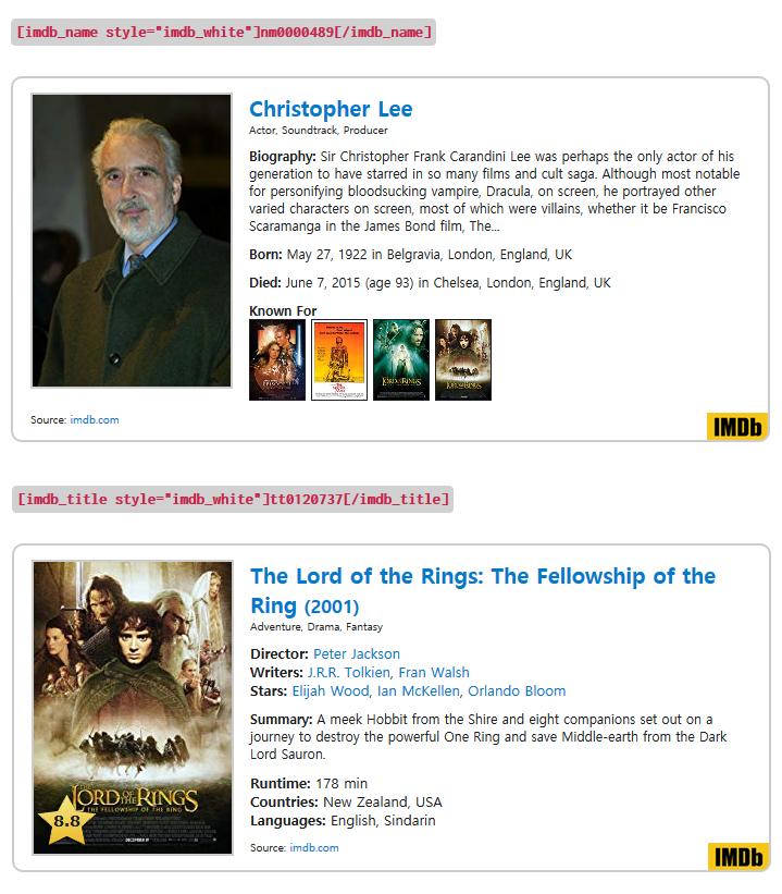Shortcode IMDB – WordPress plugin | WordPress org