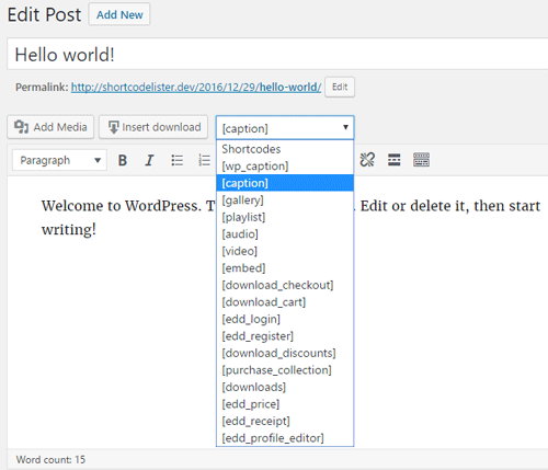 Shortcode Lister WordPress Plugin
