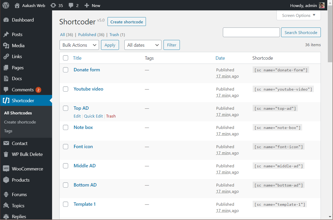 Shortcoder admin page.