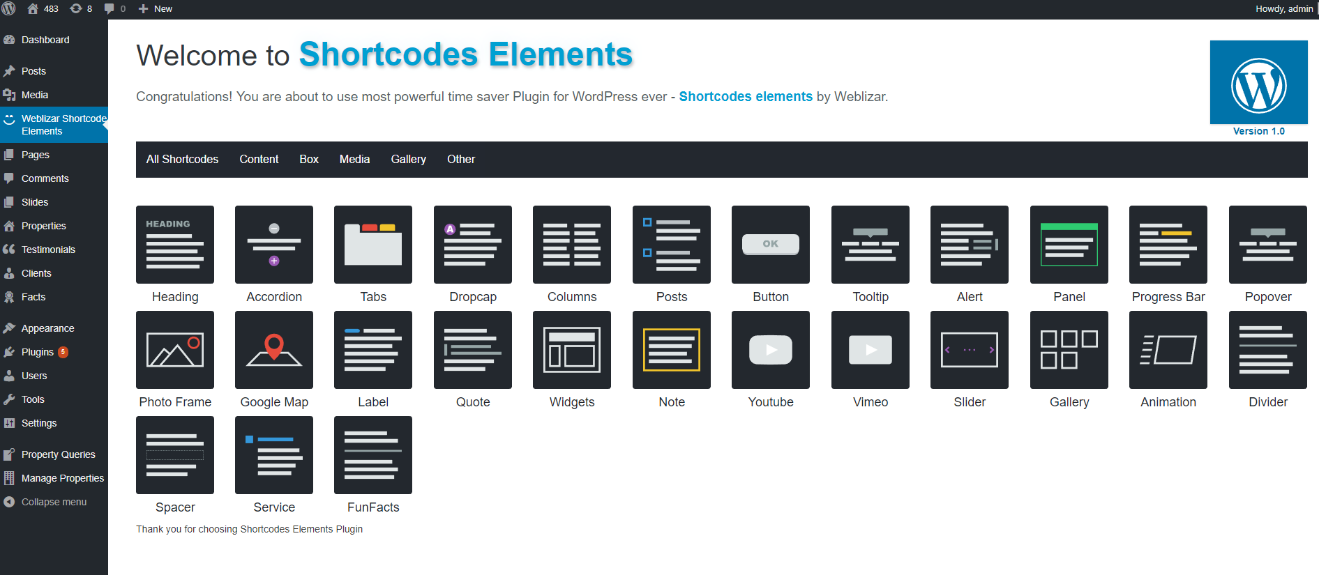 Shortcodes-Elements welcome page.