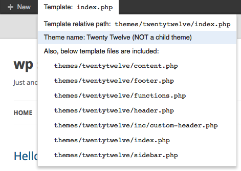 Shows the current template file.