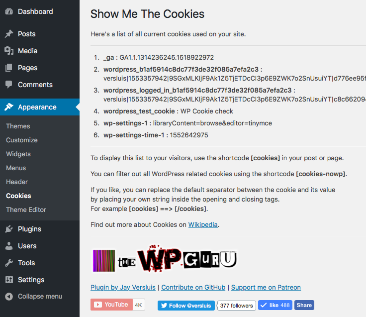 List of cookies in the Admin Interface