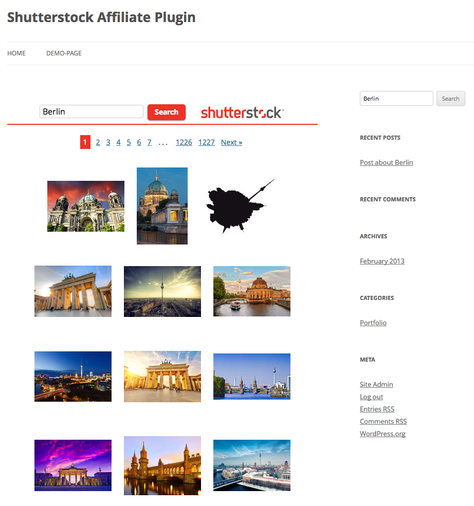 shutterstock-affiliate-plugin screenshot 1