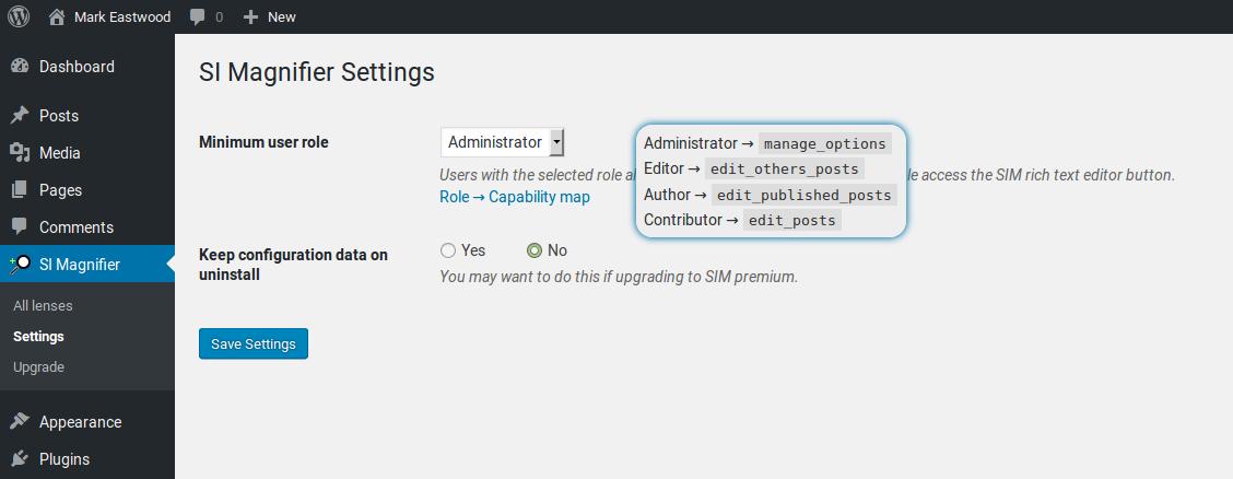 SIM admin settings page