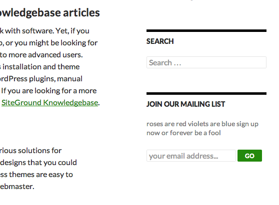 Example of Sign Me Up form installed in WordPress Twenty Fourteen Theme