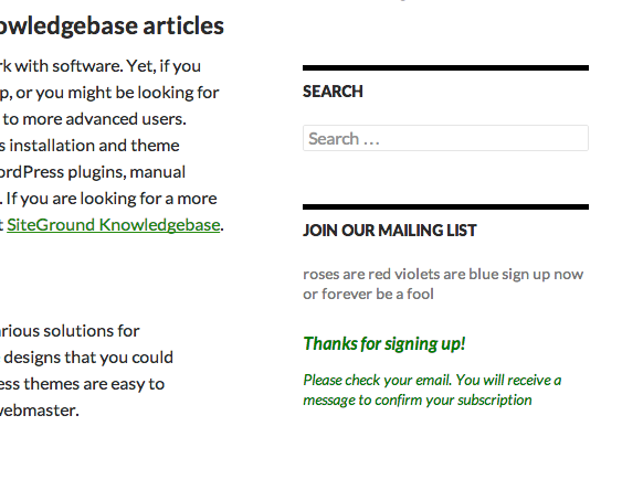 Example response after a successful submission. Message and formatting can be customized via phpList Subscribe Page.