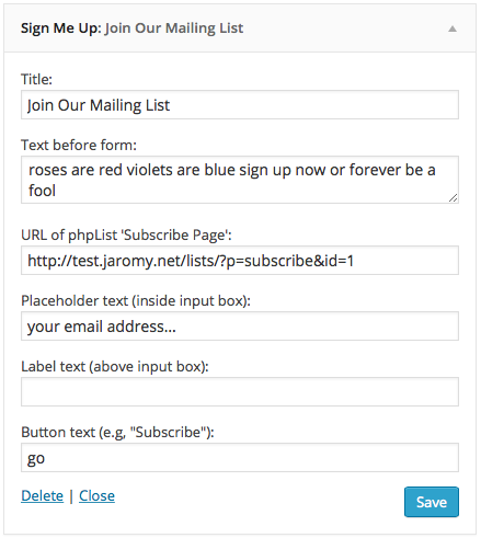 Configuring the form via the Widgets panel in WordPress backend