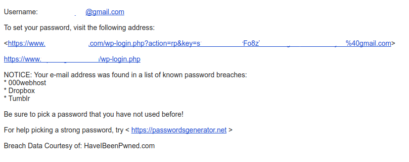 Sample modified Welcome E-mail (if registrating person's e-mail was found in a breach).