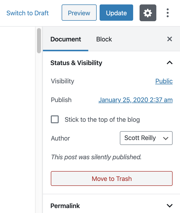 "The ""Status & Visibility"" panel when editing a post that was published with silent publish enabled. The message ""This post was silently published."" is shown to indicate the post was silently published. If the post has been published without silent publish enabled, no text or checkbox would be shown in its place."