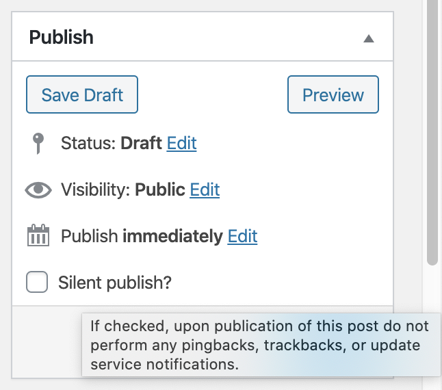 The 'Silent publish?' checkbox displaying help text when hovering over the checkbox.