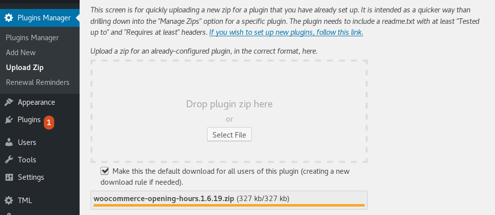 <p>Easy drag-and-drop uploading of new plugin zip versions</p>