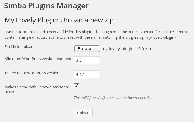 <p>Adding a new zip for a plugin</p>
