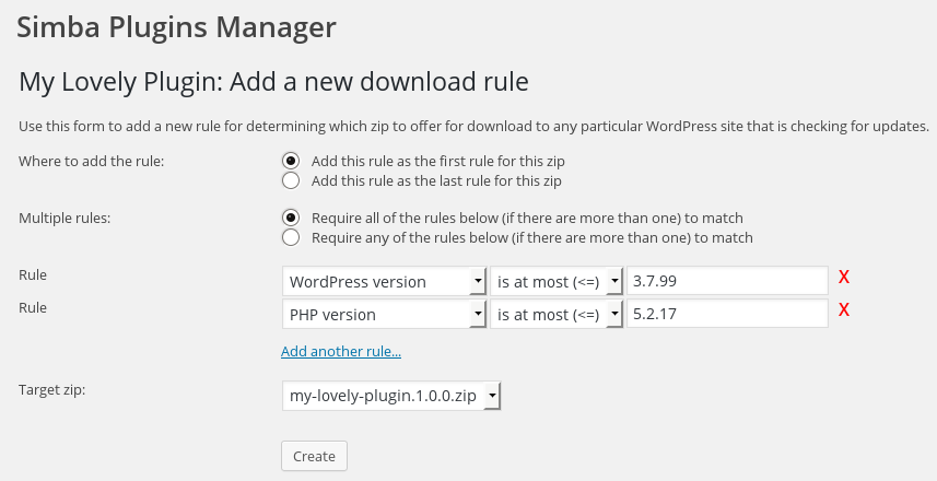 <p>Adding a download rule for a plugin</p>
