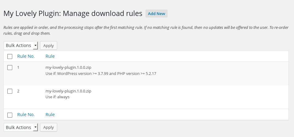 <p>Managing download rules for a plugin</p>