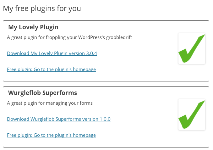 <p>Showing users on your website the plugins that they can download, using a shortcode</p>