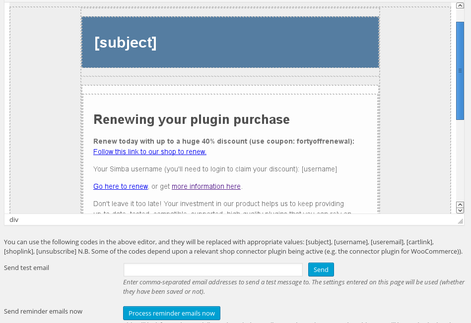 <p>Setting up the renewal reminder email for customers with expiring licences</p>
