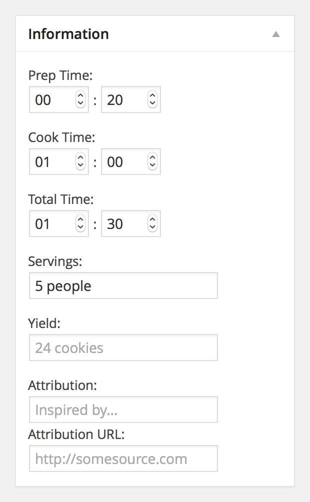 Fine tune your recipe's detailed information.