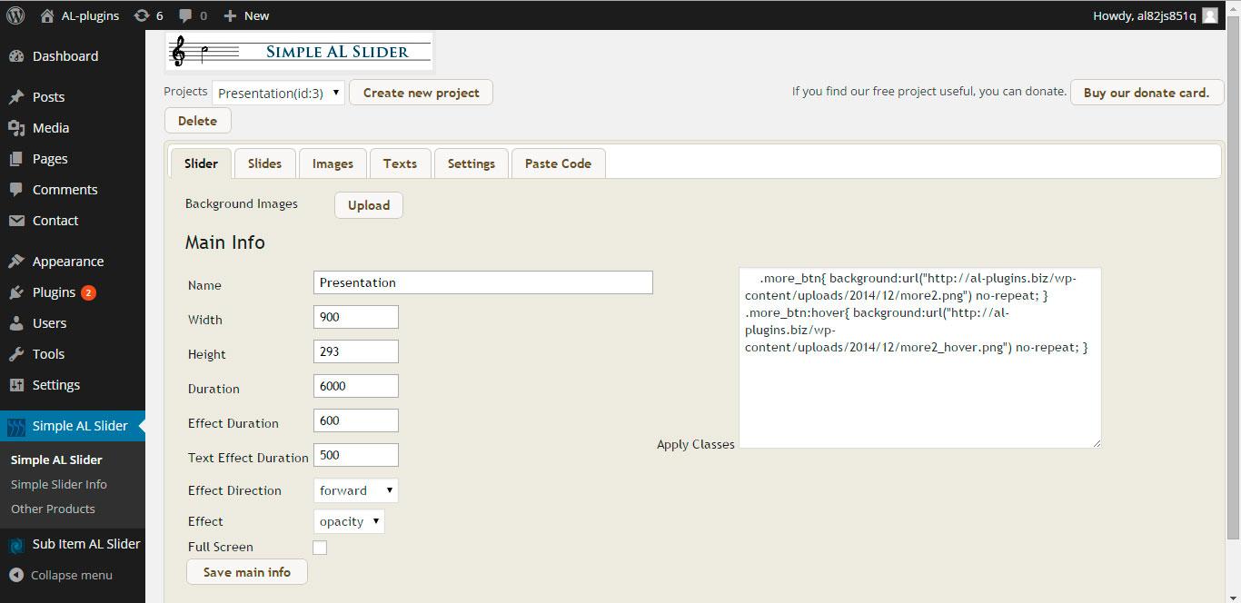 Simple AL Slider admin page 1.