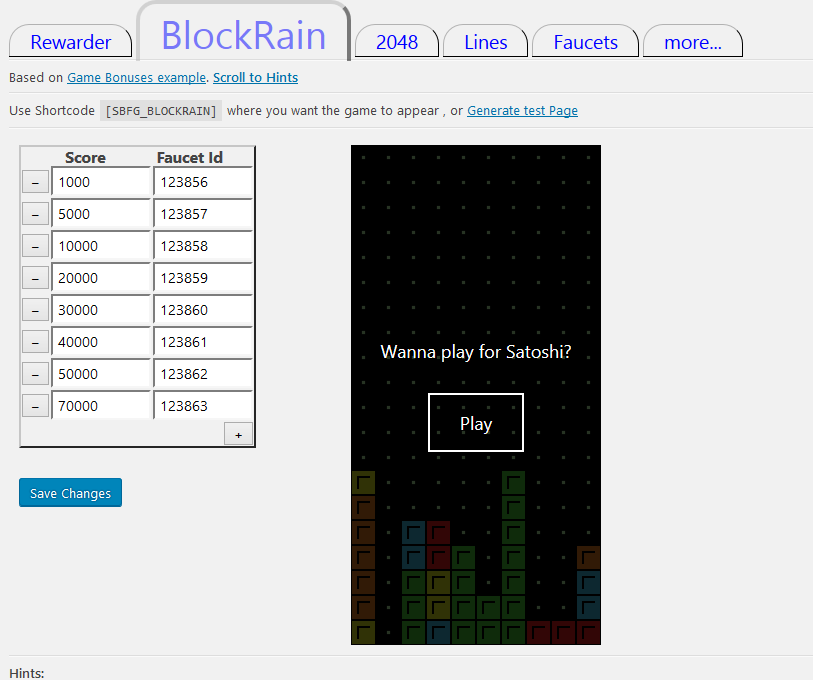 <strong>BlockRain configuration</strong> - Nothing fancy, and you can test the game(play) and Faucets right here.
