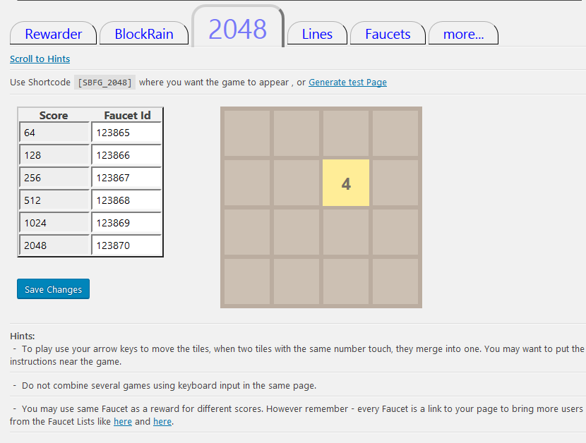 <strong>2048 configuration</strong> - To play use your arrow keys to move the tiles, when two tiles with the same number touch, they merge into one.