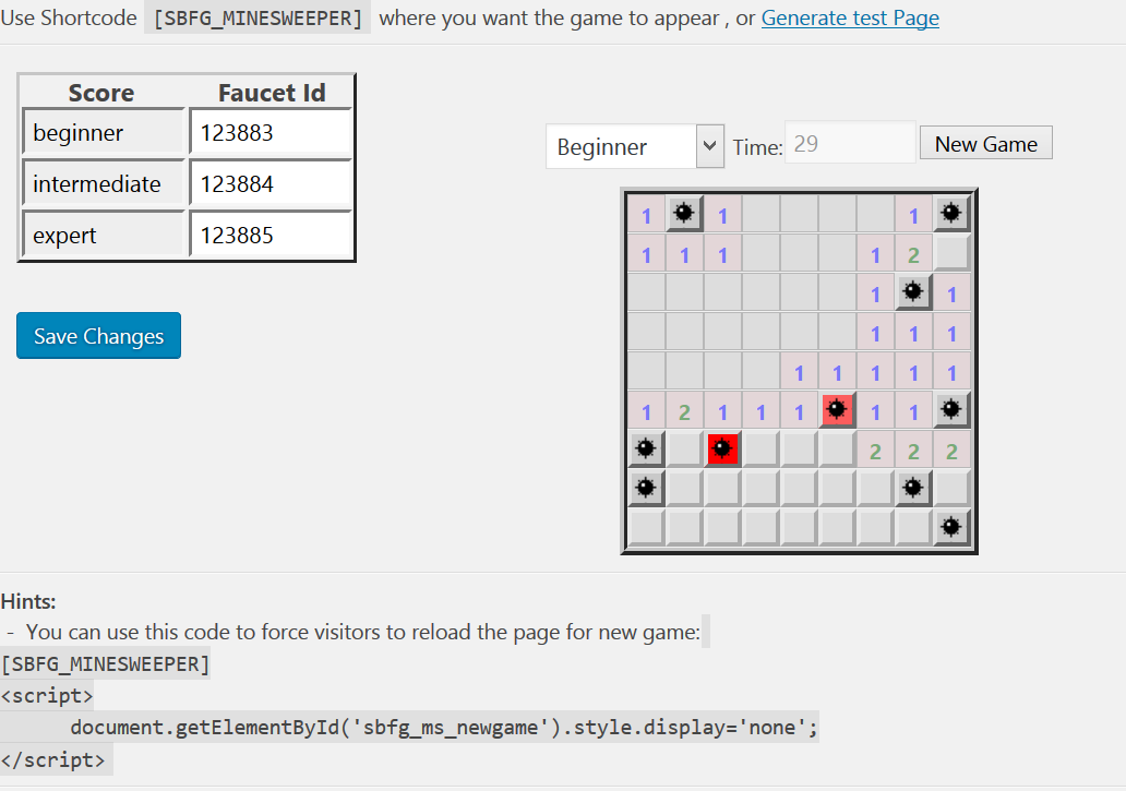 <strong>Minesweeper configuration</strong> - Classic