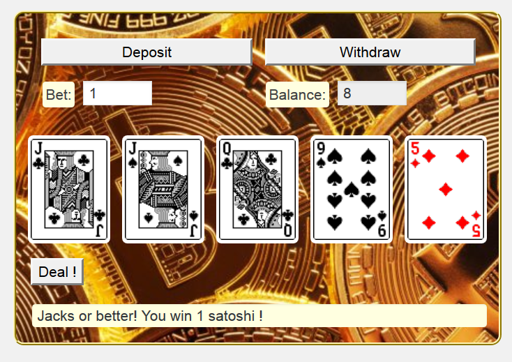 <strong>Video Poker</strong> - Play mode