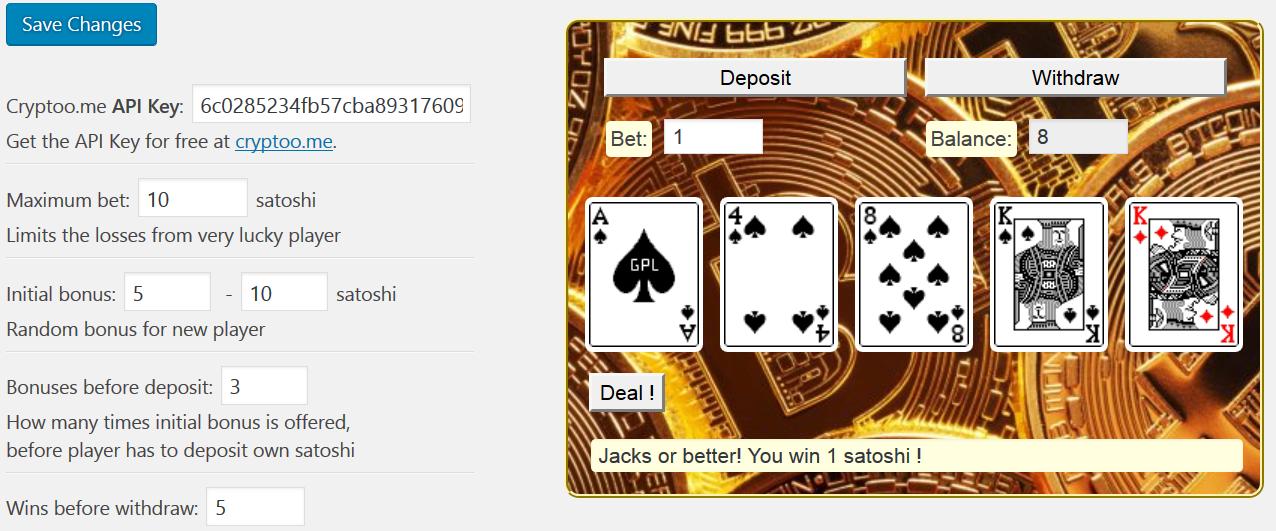 <strong>Video Poker</strong> - Admin mode