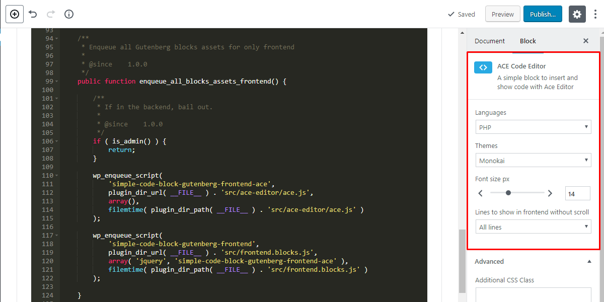 Backend configuration view.