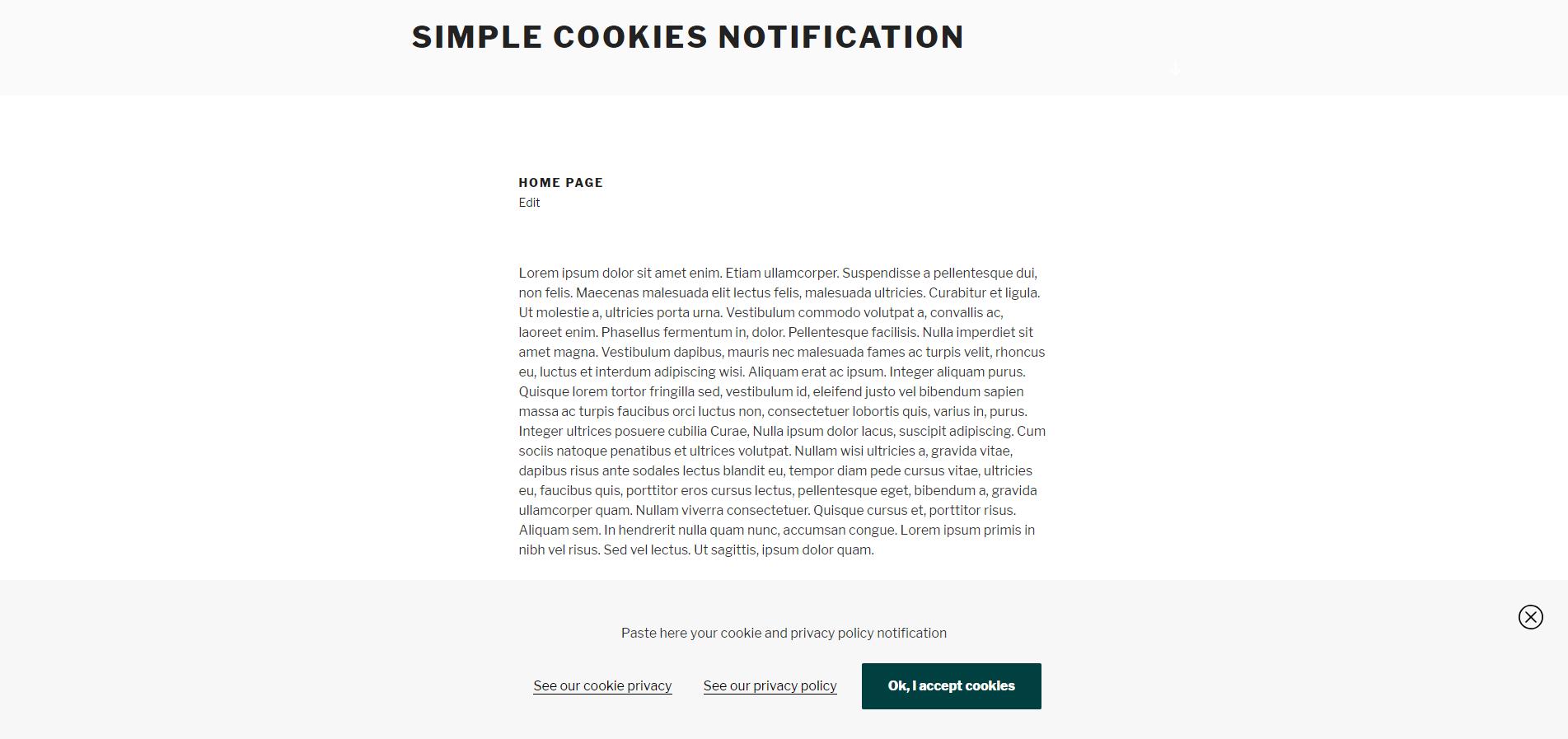 Cookie notification bar.