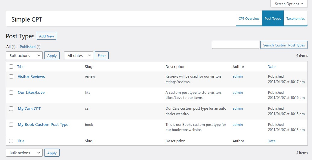 Custom Post Types admin table