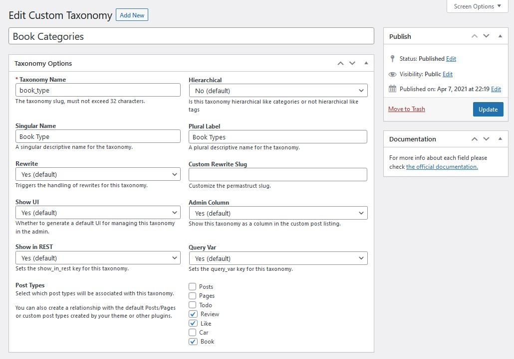 Edit a custom Taxonomy