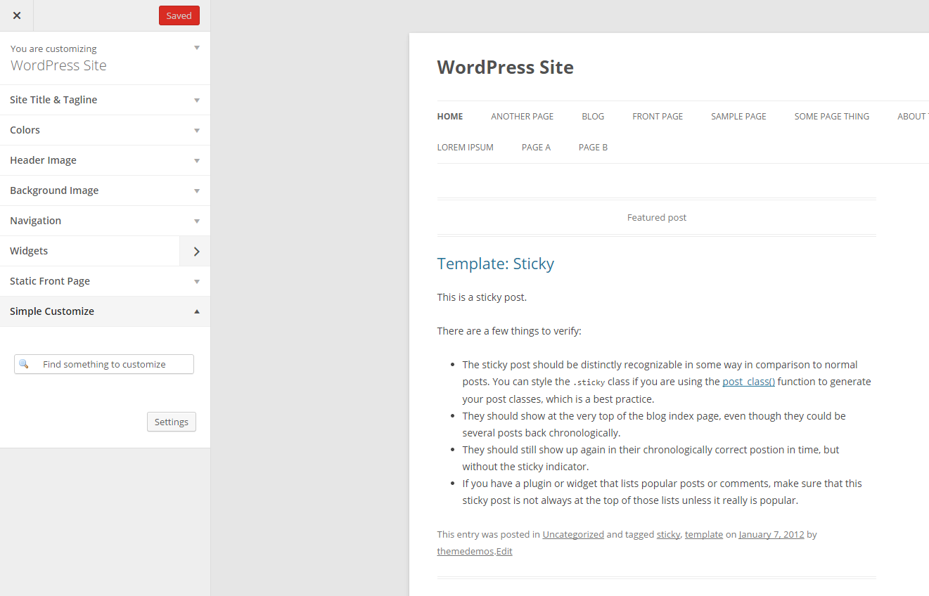 The Simple Customize alternative added to the WordPress customize page