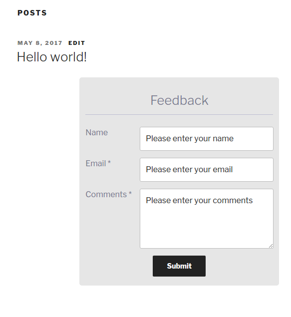 Front end user feedback form send feedback box screenshot.