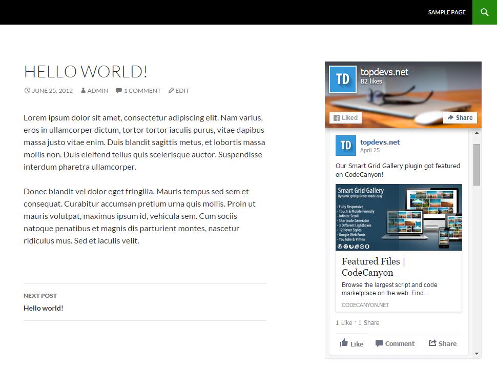 Widget with posts on your website.