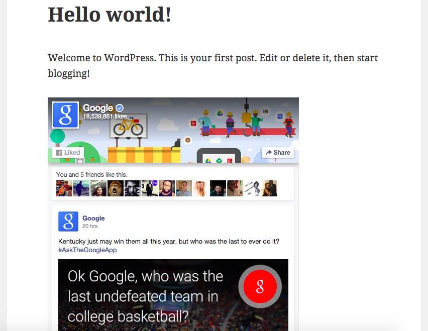 Simple Social Page Widget & Shortcode – WordPress plugin